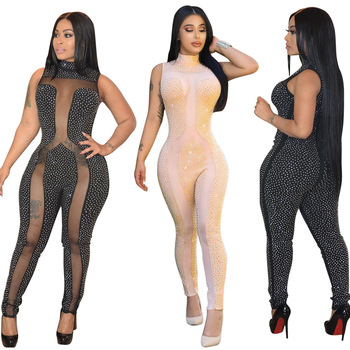 0625M0878 sleeveless night club wear rhinestone beaded mesh see through women sexy spandex body jumpsuit