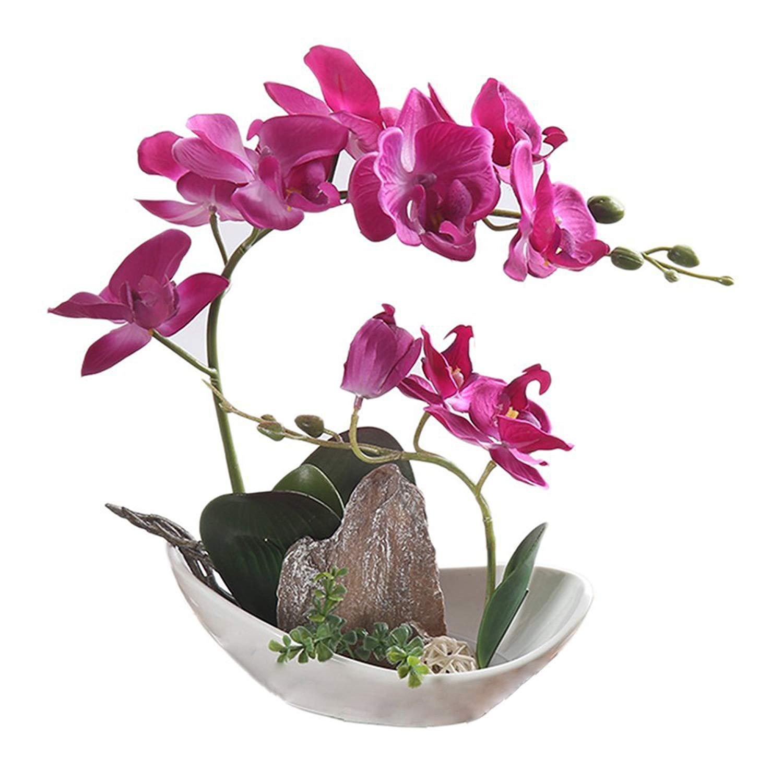 BeautiLife Orchid Artificial Flower Arrangements Phalaenopsis Silk Fake Flowers Home Decoration (Purple)