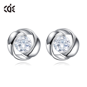 925 Silver CZ Cheap Fake Diamond Stud Earring