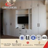 MDF high gloss wardrobe with book shelf hotel apartment furniture