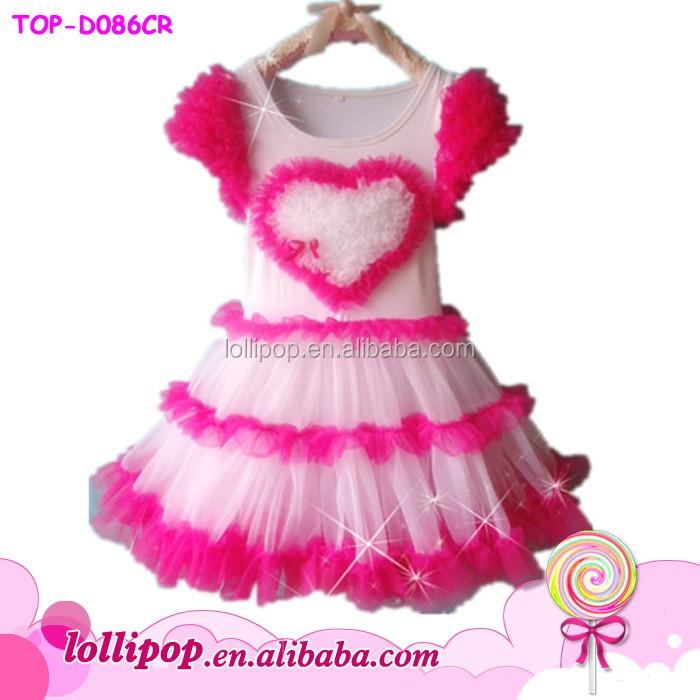58d72d0270cb Newest Design Baby Girl Dresses Short Sleeves Heart Pattern Tulle Girls  Party Dresses Gorgeous Children Clothing Summer Dresses