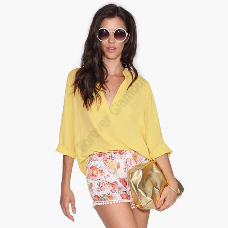 2015 New Fashion Womens Summer Long Sleeve Tops Women Chiffon Blouse V Neck Loose Casual Solid Shirt Plus Size S-L Hot 12