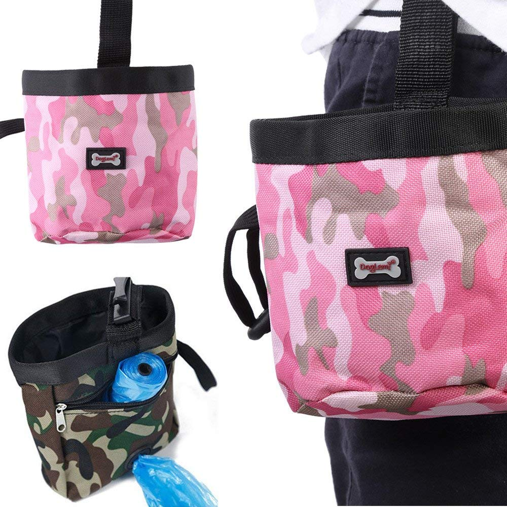 Pet Dog Puppy Training Pouch, Hands-free Adjustable Waist Belt Walking Food Snack Waist Bag Holder Carrier with Cross Opening for Rubbish