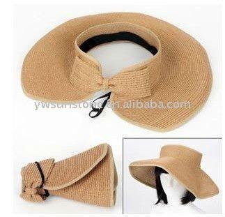 2019 Wholesale Summer Striped Roll Up Wide Brim Sun Visor Hat ... 731a0488e54