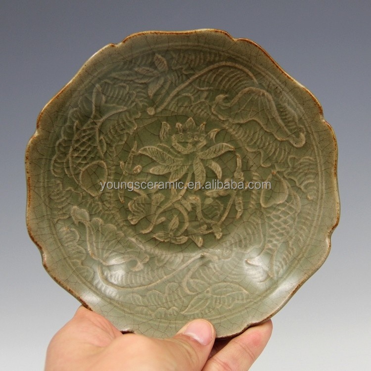 Antique Repro Song Dynasty LongQuan Kiln Porcelain Bowl <strong>Plate</strong>
