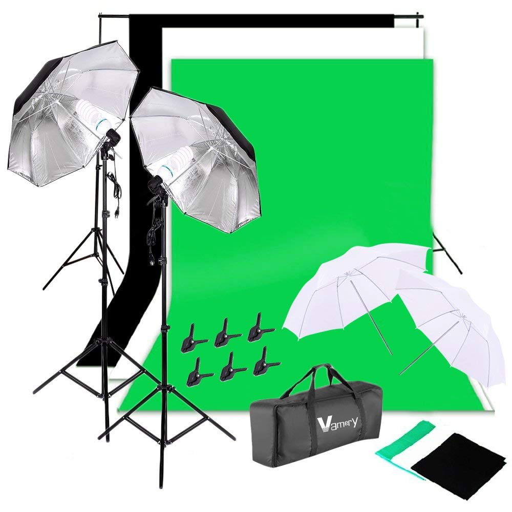 2Mx3M/6.6ftx10ft Portrait Photo Studio Support Equipment Photography Lighting Kit 135W E27 Light Bulb Umbrellas Lighting with Background Stand Muslin Cloth for Video Shoot Film Television Cutout