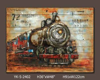 Bewegende trein schilderij voor de woonkamer decoratieve objecten