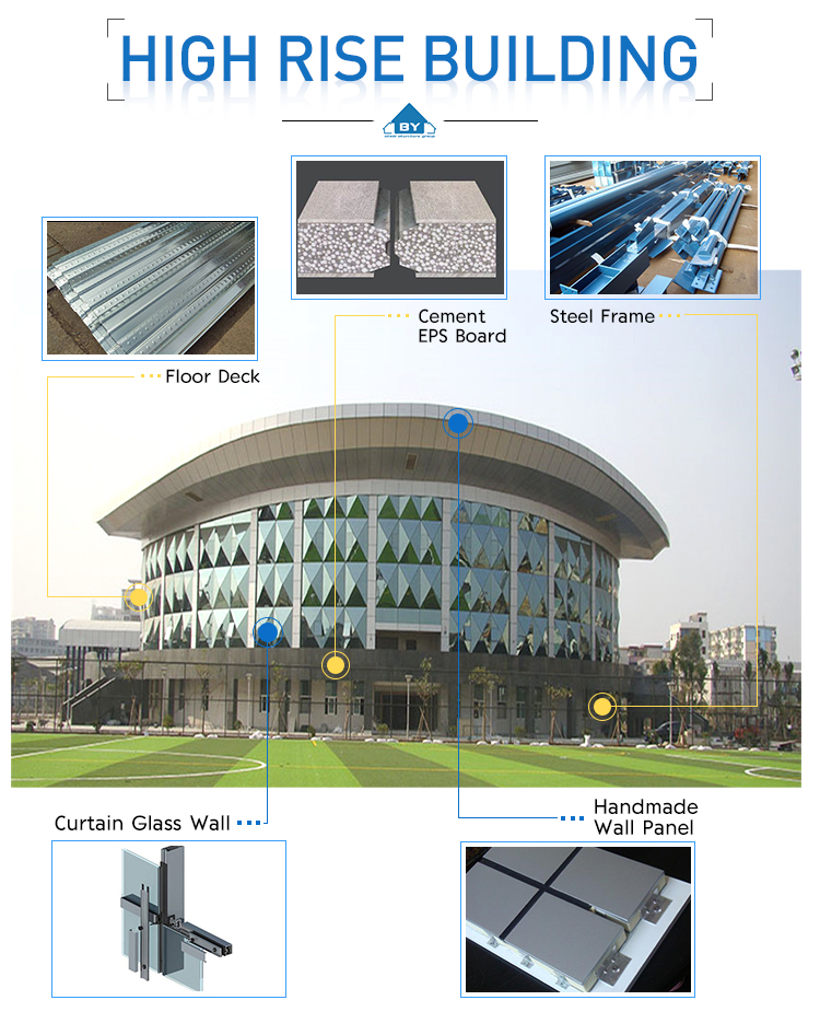 Cheap Prefabricated Steel Structure High Rise Building with Steel Structure Drawing