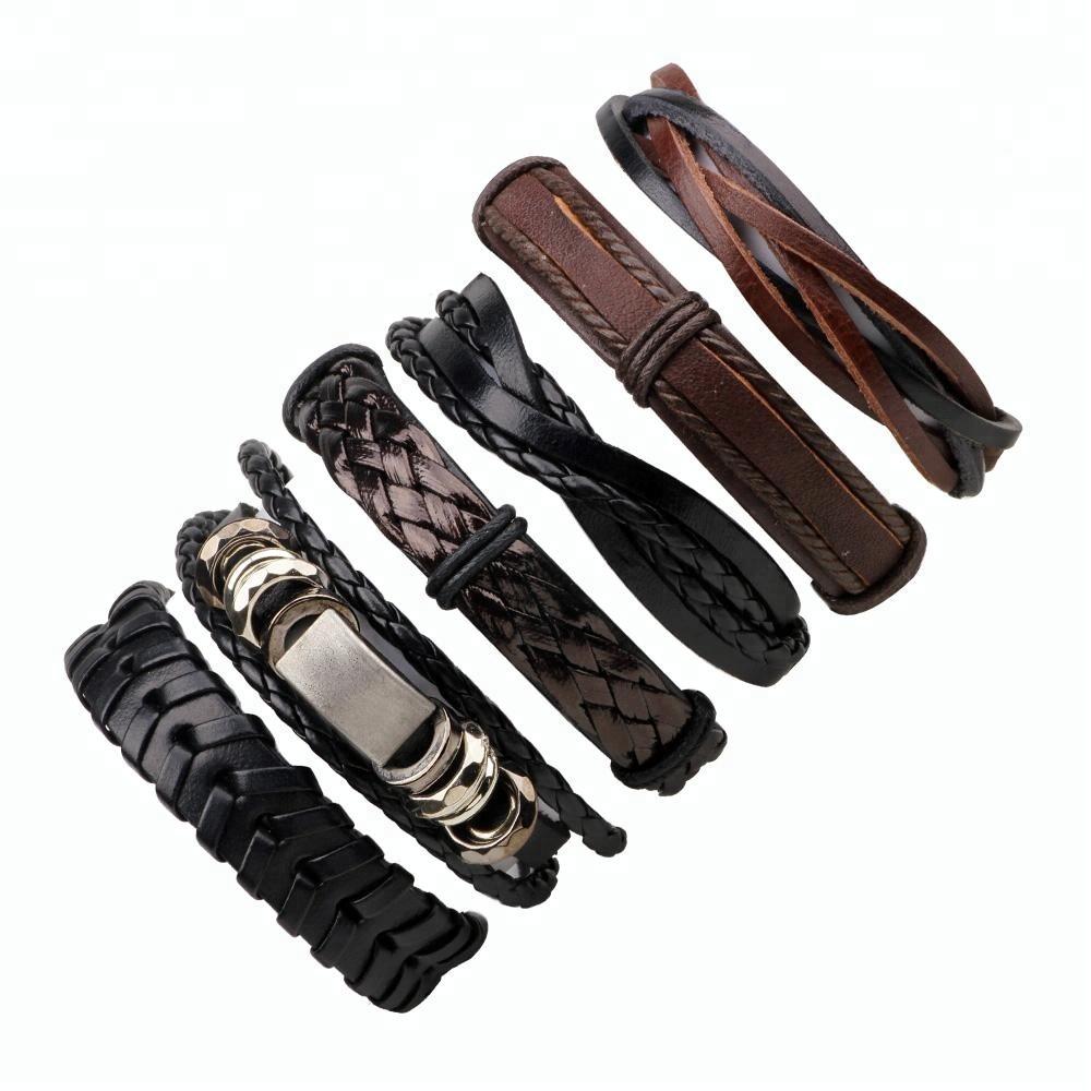 Mens Womens DIY Hand Geweven gevlochten Wax Touw Lederen Armbanden en Armbanden