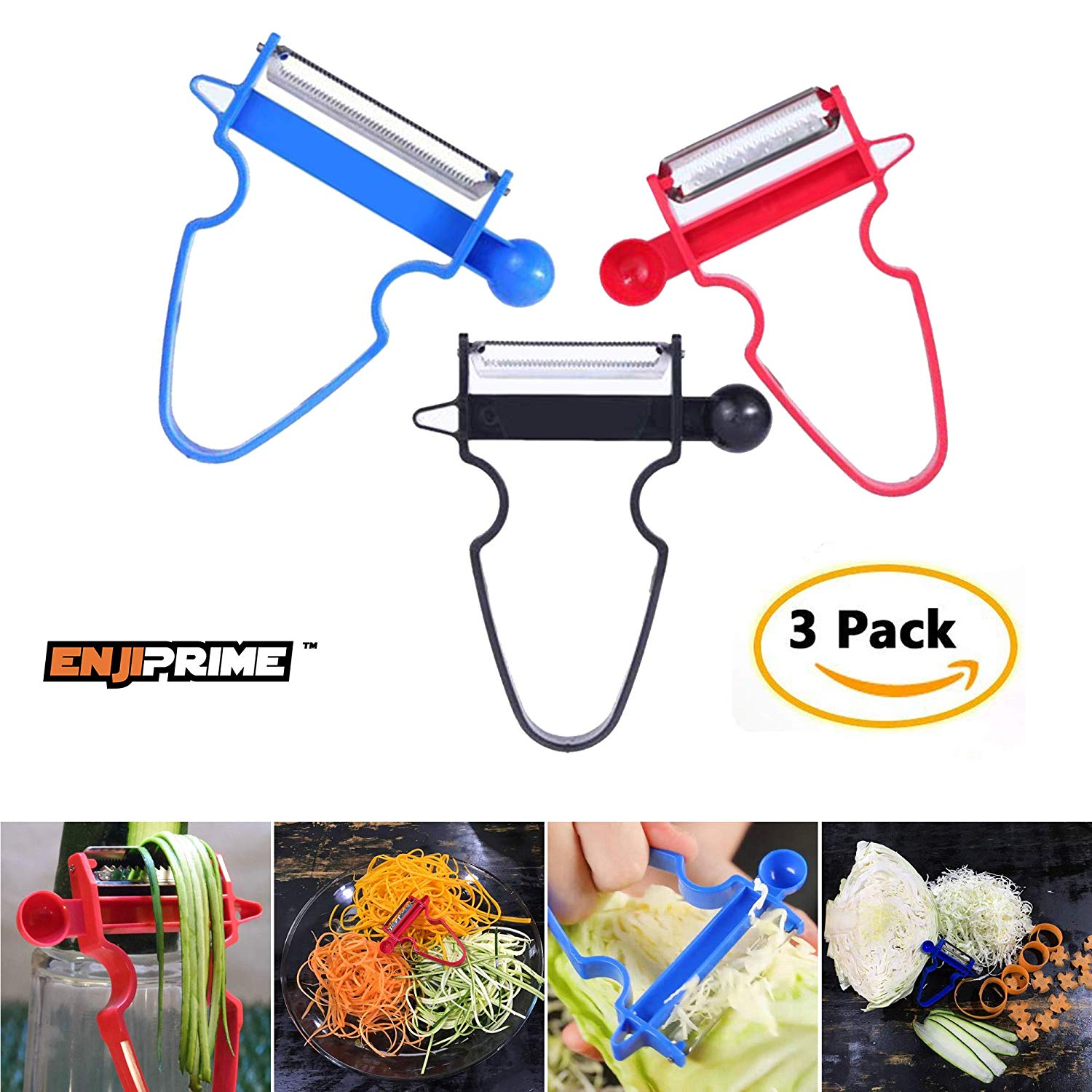 Magic Trio Peelers Slicers Shredders For Fruits and Vegetables - Spiralizer, Julienne Clever Cutter, Multifunction Kitchen Helper, Picador de Verduras (set of 3)