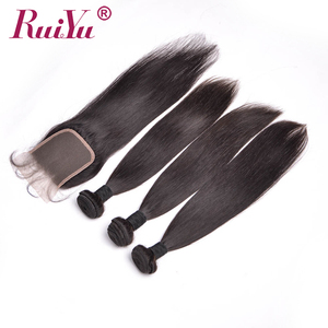 raw malaysian hair bundles with closure straight human hair 4*4 top lace free middle three part