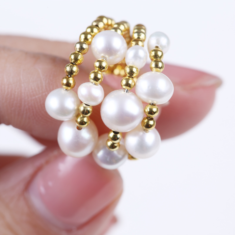 perfect adjustable pearl brass rings