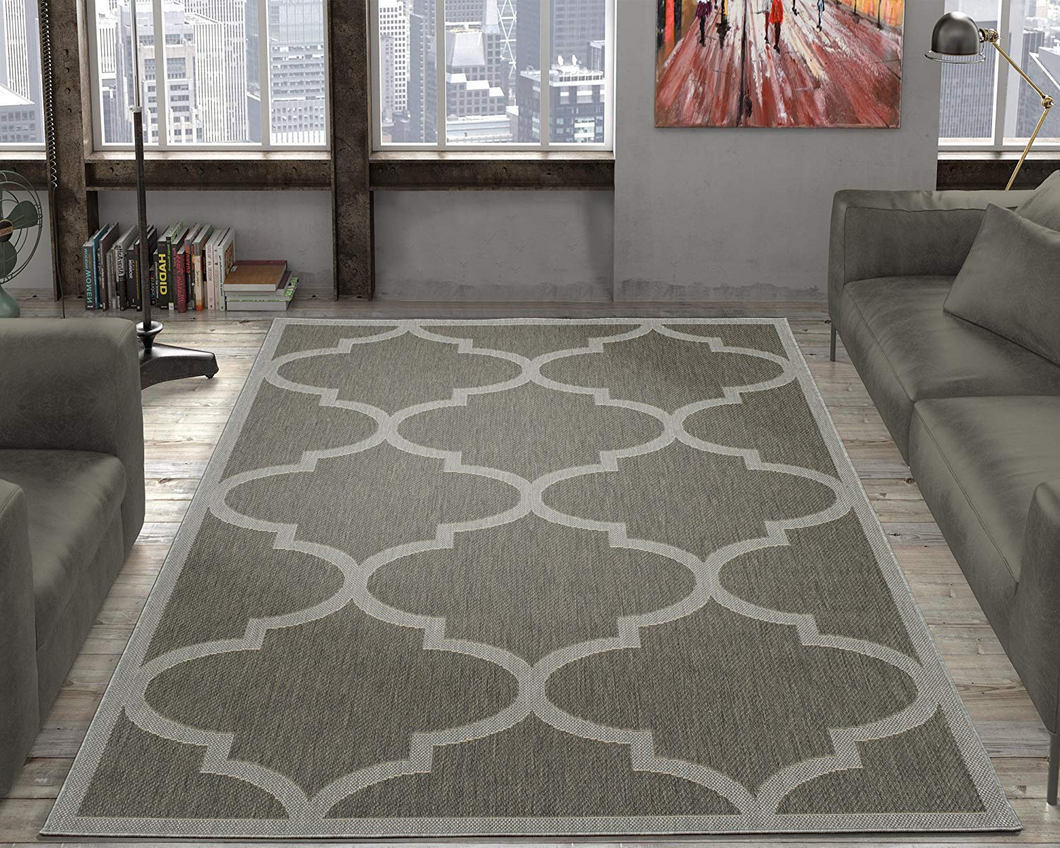 "Ottomanson JRD9097-5X7 Jardin Collection Morroccan Trellis Indoor/Outdoor Jute Backing, 5'3"" X 7'3"", Dark Grey Area Rug, Gray"