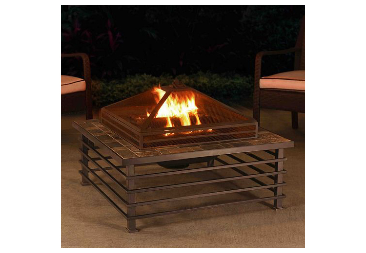 Outdoor Fire Pit Square Metal Firepit Backyard Patio Garden Stove Wood Burning Fire Pit W/ Rain Cover