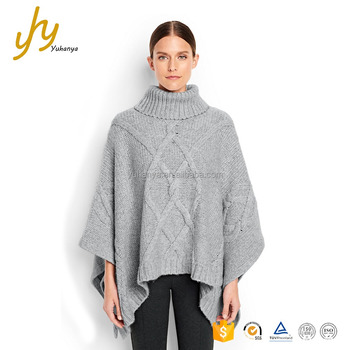 Oem Odm Grey Fashion Turtleneck Cable Free Knitted Poncho Patterns