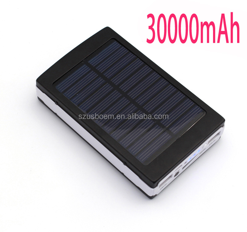 LED Light 30000mAh Solar panel Battery Charger power bank