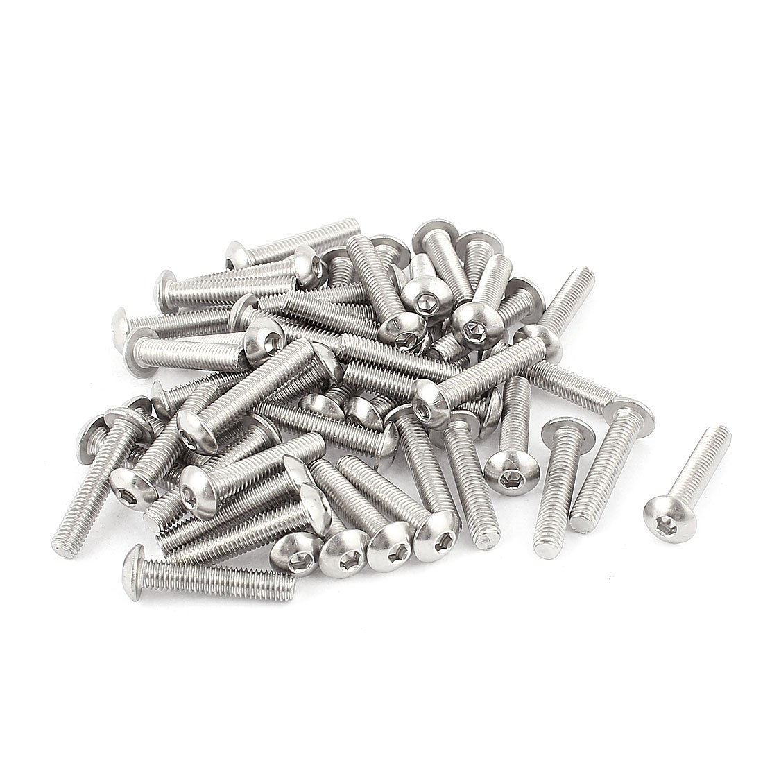 uxcell M5x25mm Stainless Steel Hex Socket Button Head Screws 50 Pcs