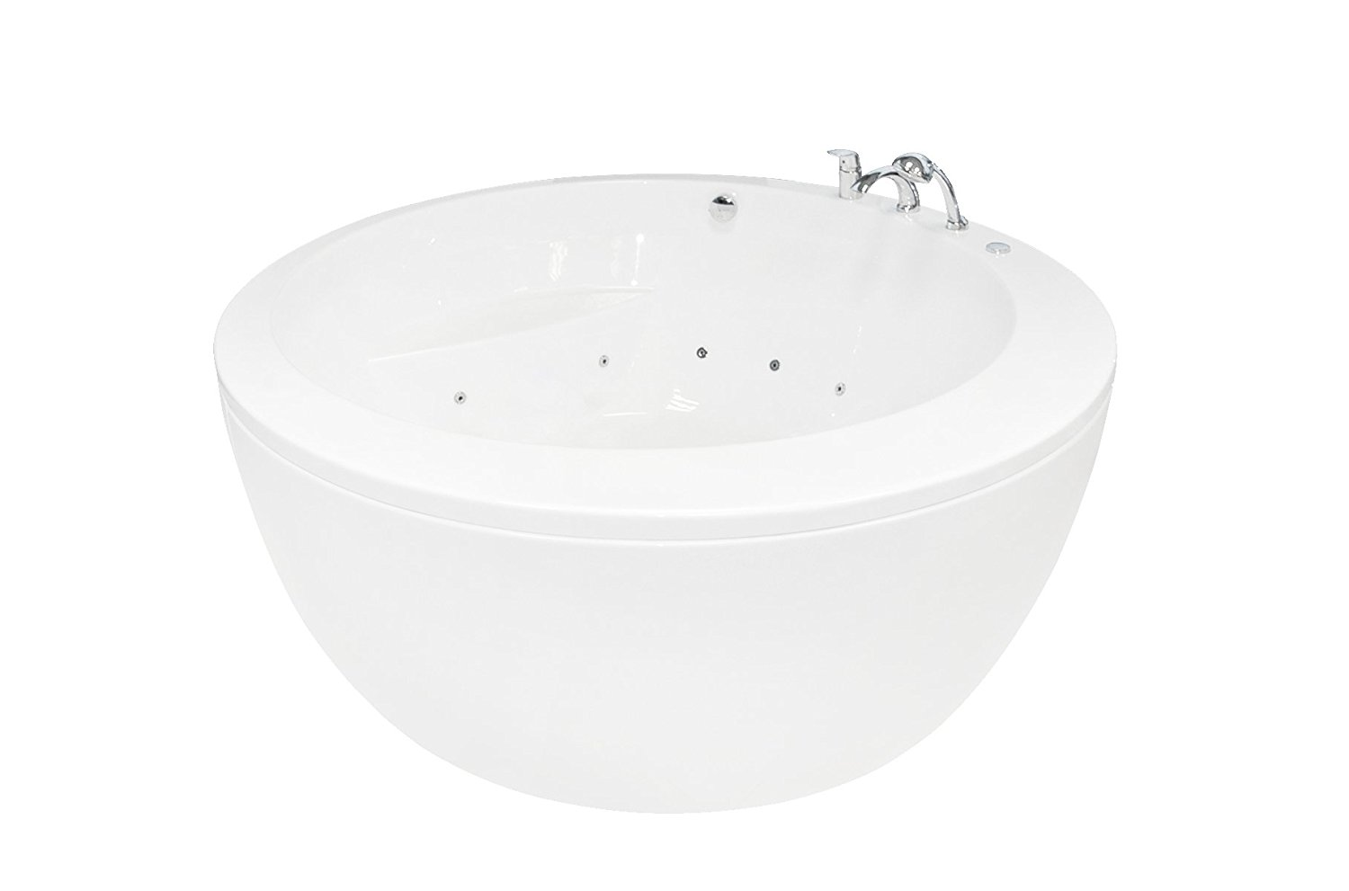 Aquatica Pamela-Wht-Rlx Freestanding Lucite Acrylic Bathtub with Airmassage and Hydromassage Jets and Chromotherapy Lighting, White