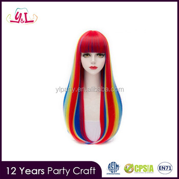2017 Party City Halloween Rainbow Fashion Full Bang Synthetic Natural  Straight Long Capless Charming Women s Wig 8c258536b