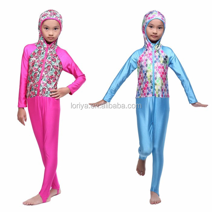 Wholesale cute fashion kids muslim islamic swimwear,islamic jumpsuit swimming wear