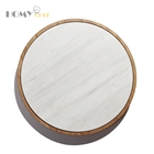 Marble High-end Elegant Plate Wood And Round Shaped 30cm White
