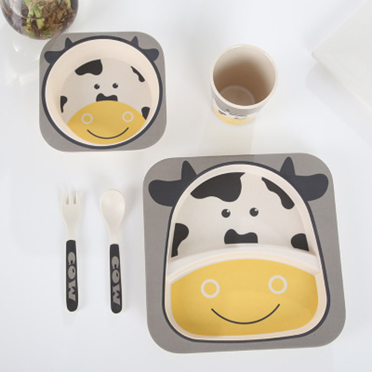 Alibaba Europe Biodegradable Baby Bamboo Plates Cow Dinnerware Sets
