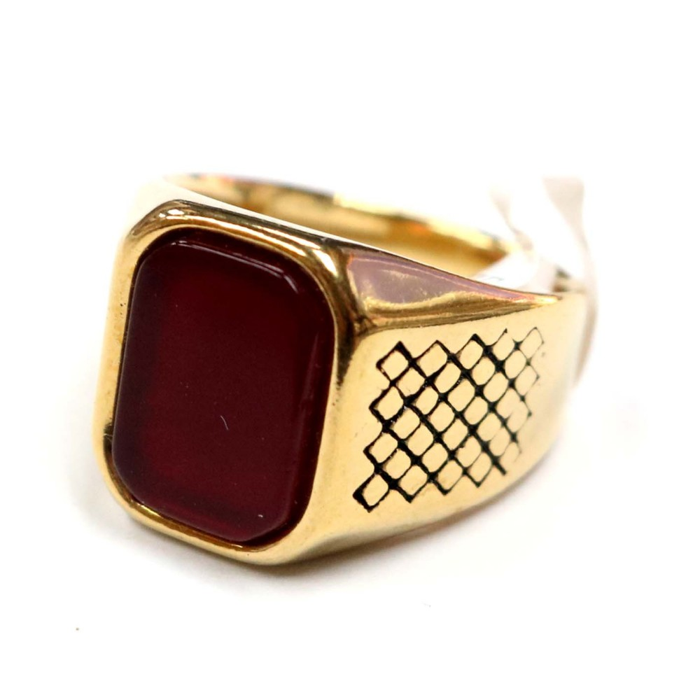 Stainless Steel Fashion Ring Polished Maroon Glass Ring
