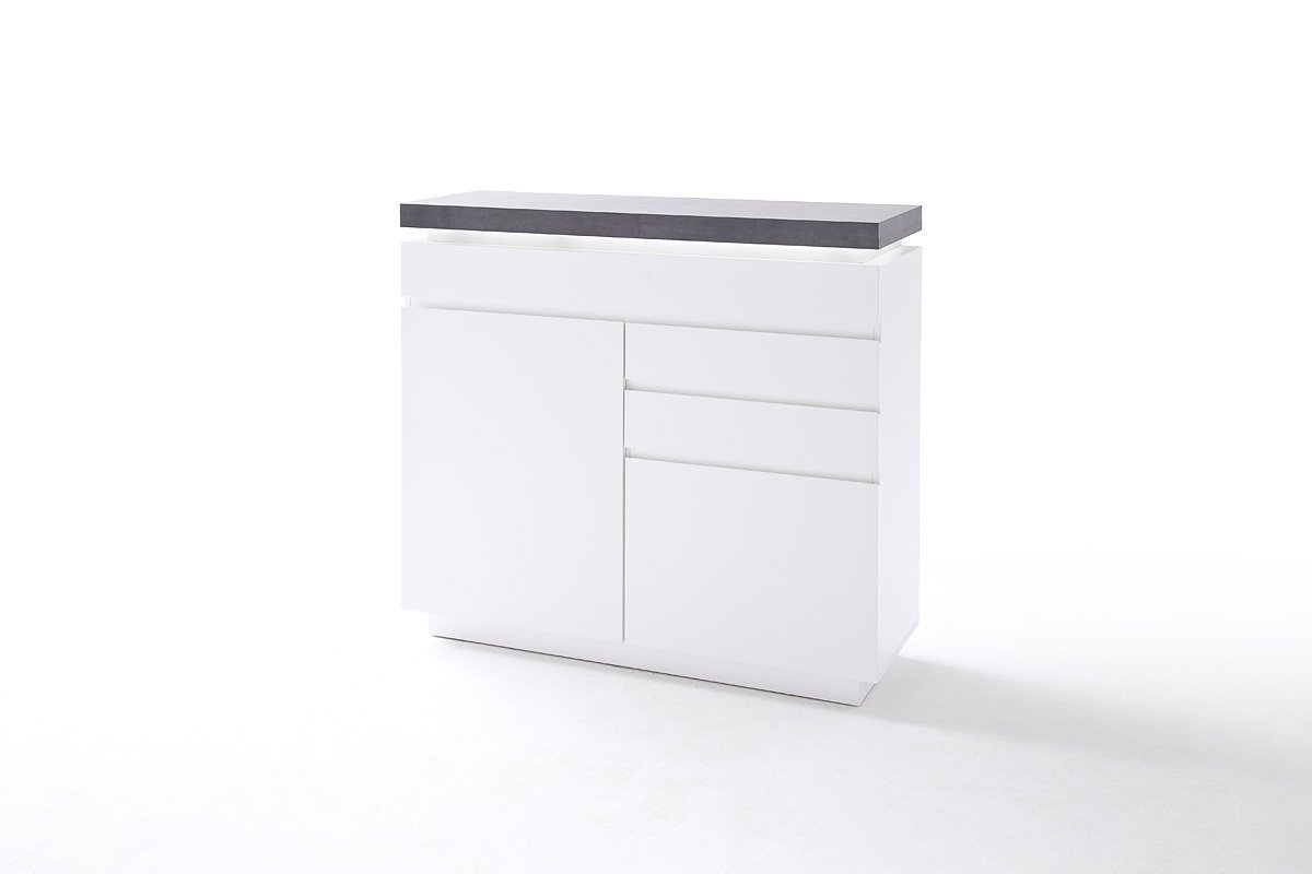 ATLAN 48676WB modern white chest of drawers - white matte varnish - tall dresser with 3 drawers