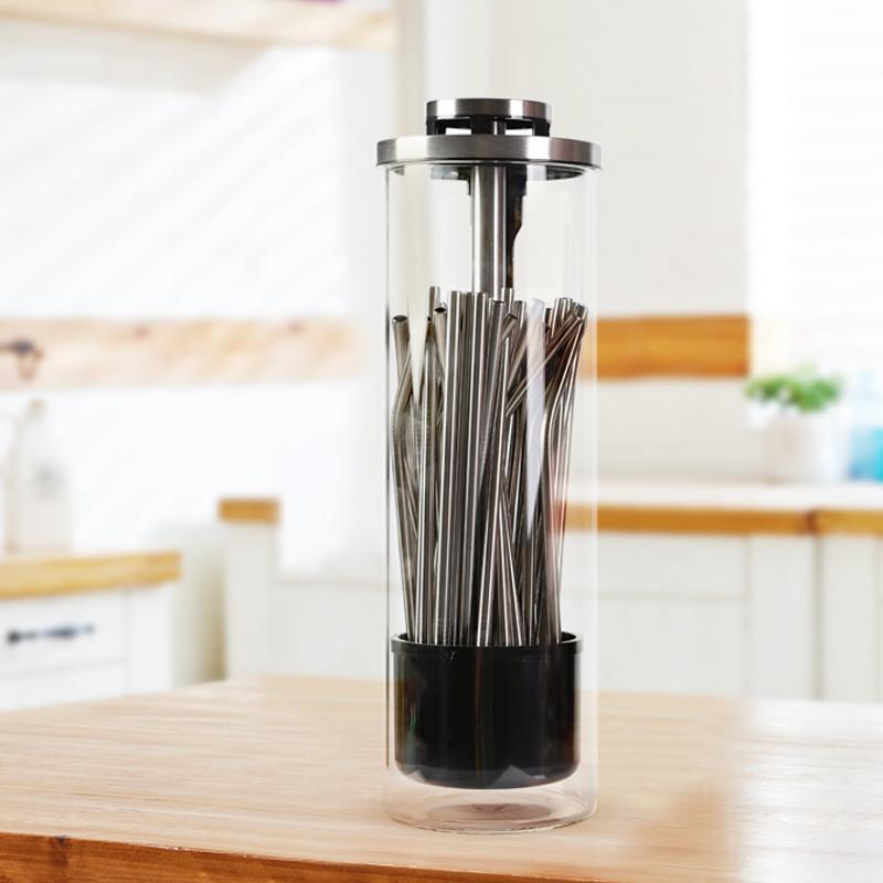 2019 Amazon новый стекло хранения барная посуда питьевой соломы металлический дозатор держатель