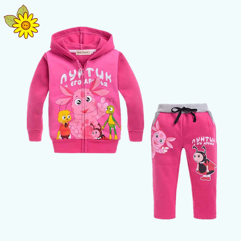 d6f08cd1018cf Get Quotations · Lovely Insect Girl Hoodie Sets Autumn Winter 2 Pieces Girl  Hoodie Sports Leisure Pink Hooded Suit