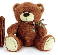 Free Sample Plush stuffed animal toys dark brown teddy bear with bow