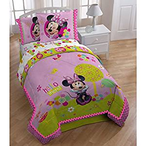 4 Piece Kids Disney Minnie Mouse Comforter Full Set, Mickey Mouse Themed Bedding for Girls, Cute Adorable Mini Character, Featuring Flowers Floral Green Pink White