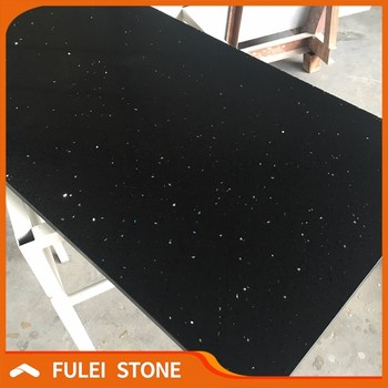 Artificial Prefab Starlight Black Galaxy Quartz Countertop