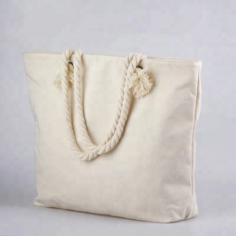 Twist Cotton Handle Custom Logo Pattern White Canvas Tote Ladies Bag