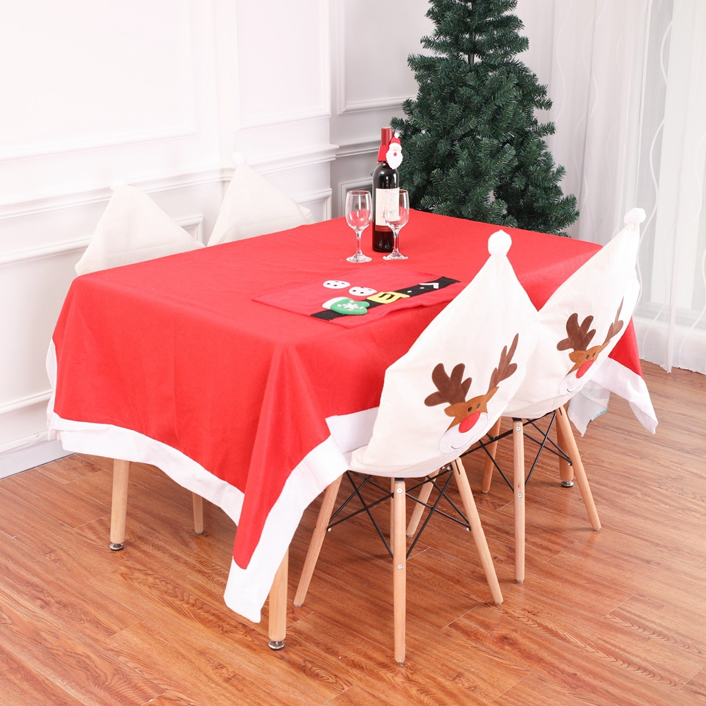 New Deer Cap Chair Cover Christmas Dinner Table Party Elk White Hat Chair Back Covers Xmas Christmas Decorations For Home