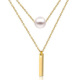 Olivia Alibaba Stainless Steel Jewelry 18k Gold Plated Women Long Chain Pearl Bar Design Plain Gold Necklace