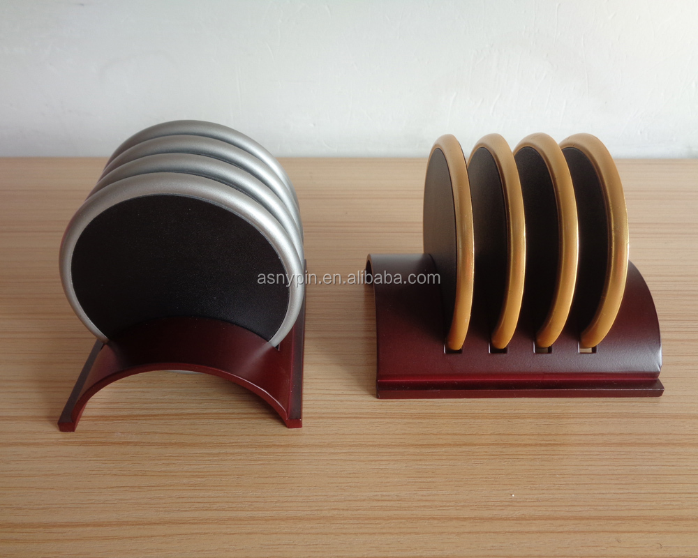 blank metal and leather drink coaster set with metal stand
