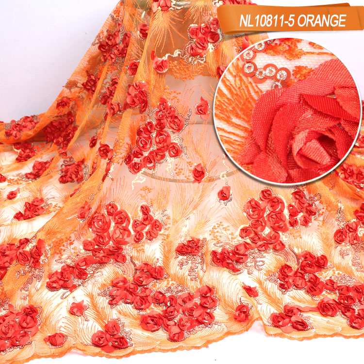 New arrival nigeria embroidery textile  bridal rose 3d lace fabric