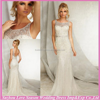 WD2946 Ivory sparkly beaded diamond mermaid tulle deep V back zipper back chapel train lace illusion neckline wedding dress 2014