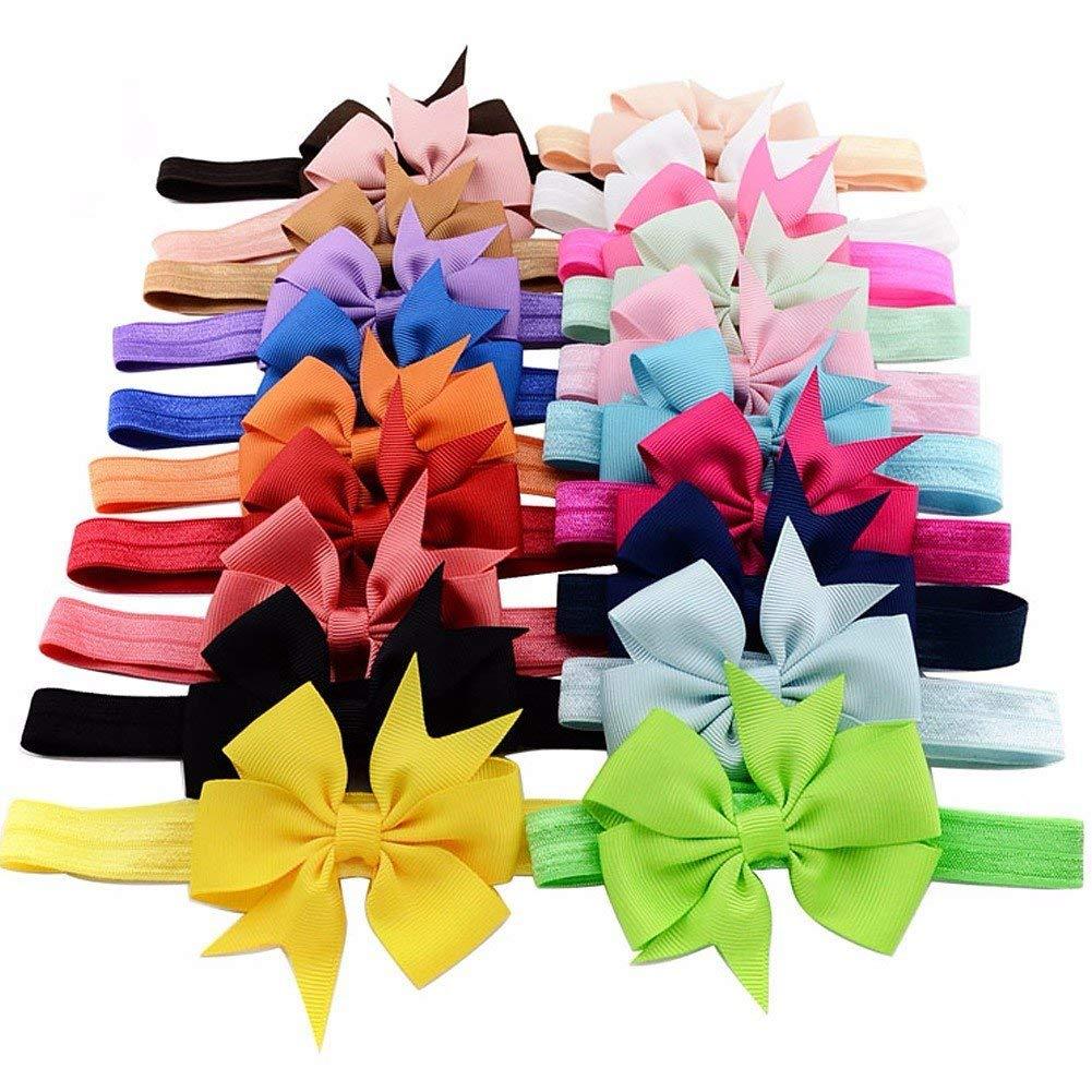 Freebily 20pcs Pack Baby Girls Vintage Headbands Lot Elastic Hair Bow Headdress Grosgrain Ribbon Flower Hairband