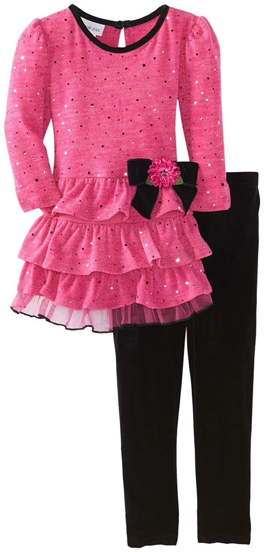 6c0061aae2df Get Quotations · Bonnie Jean Little Girls' Pink Fuzzy-Tier Spangle Legging  Set