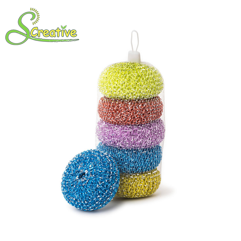 Cleaning Ball Kitchen Plastic Mesh Sponge Dish Scourer Pot Scrubber ...