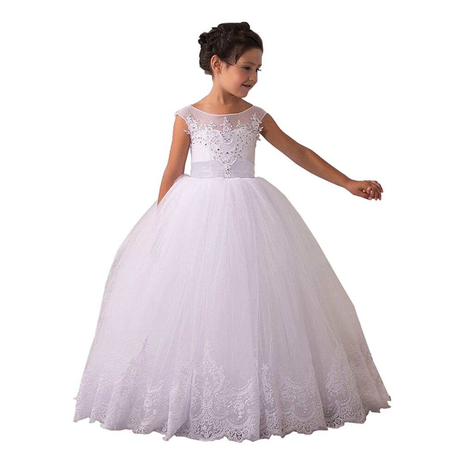 a18a6baad18 Get Quotations · Flower Girls Dresses Long Vintage Lace First Communion  Pageant Ball Gowns