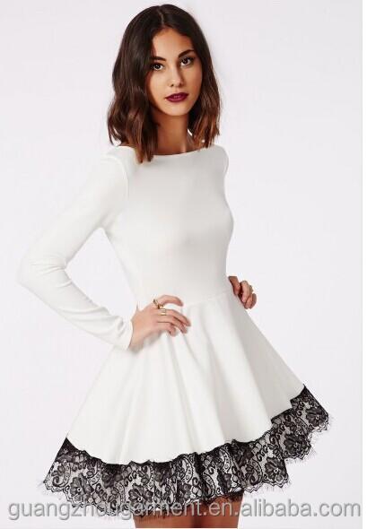 b2665cdb6c03 Online shopping Fashion Women Lady Sexy long sleeve Skater Dress lace frill  insert hot selling Club