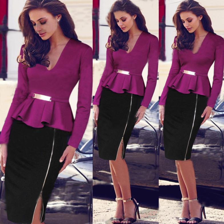 Whole Uk Fashion Womens Dress 2017 Women Ruffles V Neck Office Dresses Midi Elegant Wear Las Clothes Size L Tail Brands