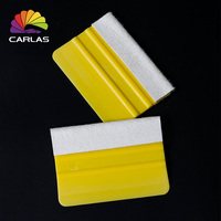 Hot Sales Carlas Plastic Scraper With Felt Vinyl Wrapping Yellow Squeegees Tool For Car Wrap