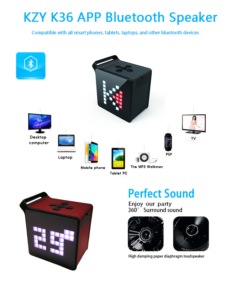 Manufacturer KZY K36 New APP Controlled Portable Handfree Bluetooth Speaker