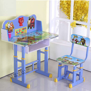 Small Cartoon Drawing Painted Kids Study Table/ Kids Table Chairs/ Children  Desk And Chair