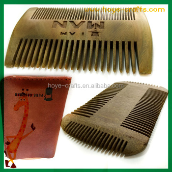 Beard wooden comb green sandalwood mustache beard comb