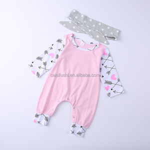 2018 wholesale long sleeve baby cotton romper cute pink baby girl clothes with head band